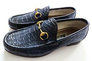GUCCI Blue Crocodile Alligator Leather
