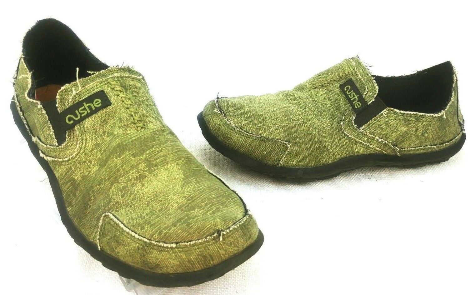 Cushe Mens Canvas Slip On Casual Green Khaki Olive Hoffman Surfer Size 8