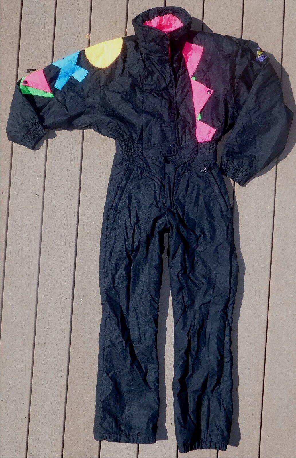 Women's Vintage OBERMEYER 90's Neon Ski Suit Snowsuit 1 Piece 12 Coat Pants