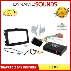 CTKFT12-Noir-Double-Din-Kit-Fixation-Stereo-avec-Adaptateur-Info-pour-Fiat-500L
