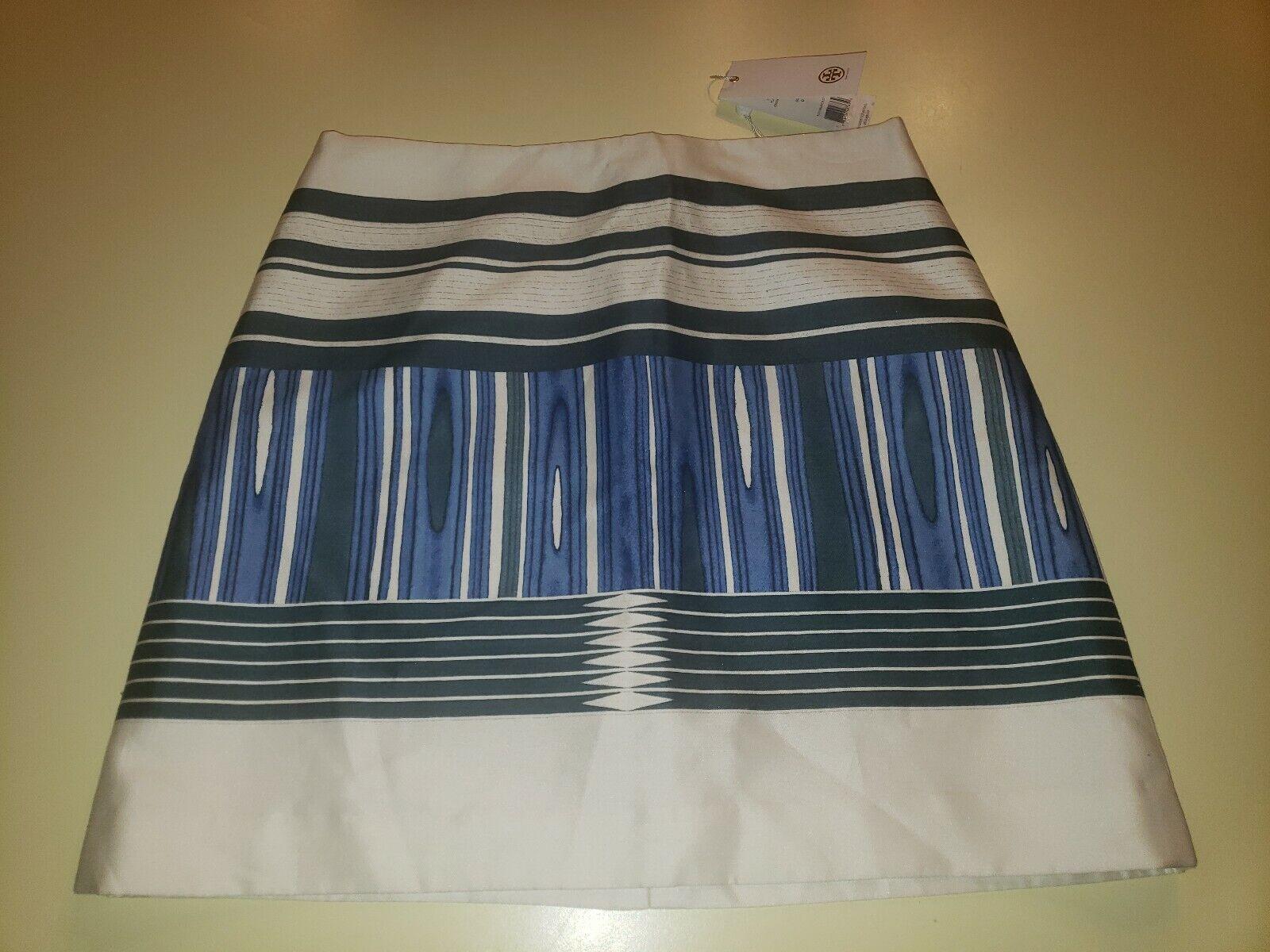Tory Burch Plaited Stripe Engineerot Skirt Sz 0  395 NWT Ivory Blau 21151346