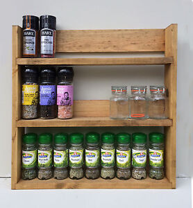 Spice Rack 3 Tiers Reclaimed Wood Rustic Kitchen Storage Wall Mount