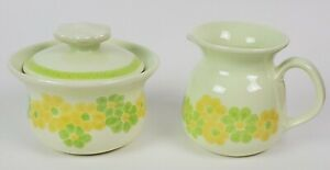 Franciscan Picnic Covered Sugar Bowl and Creamer Set Yellow and Green Flowers