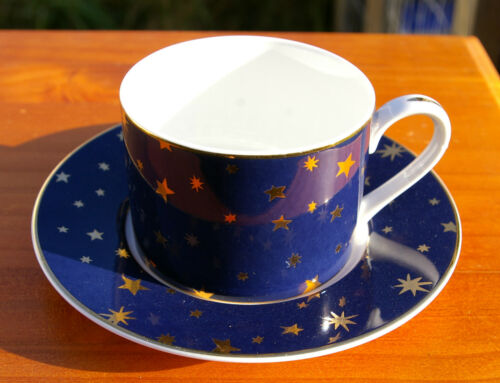 Blue 14k Gold Stars Porcelain Sakura Galaxy Mug Plate Set Cup Saucer Indonesia