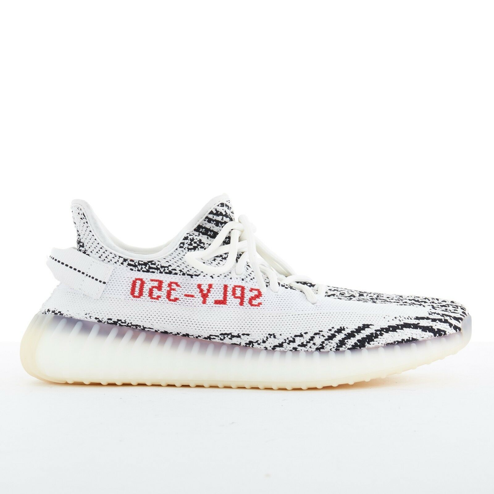 YEEZY BOOST 350 V2 ADIDAS  black white zebra knitted chunky sole sneakers US9