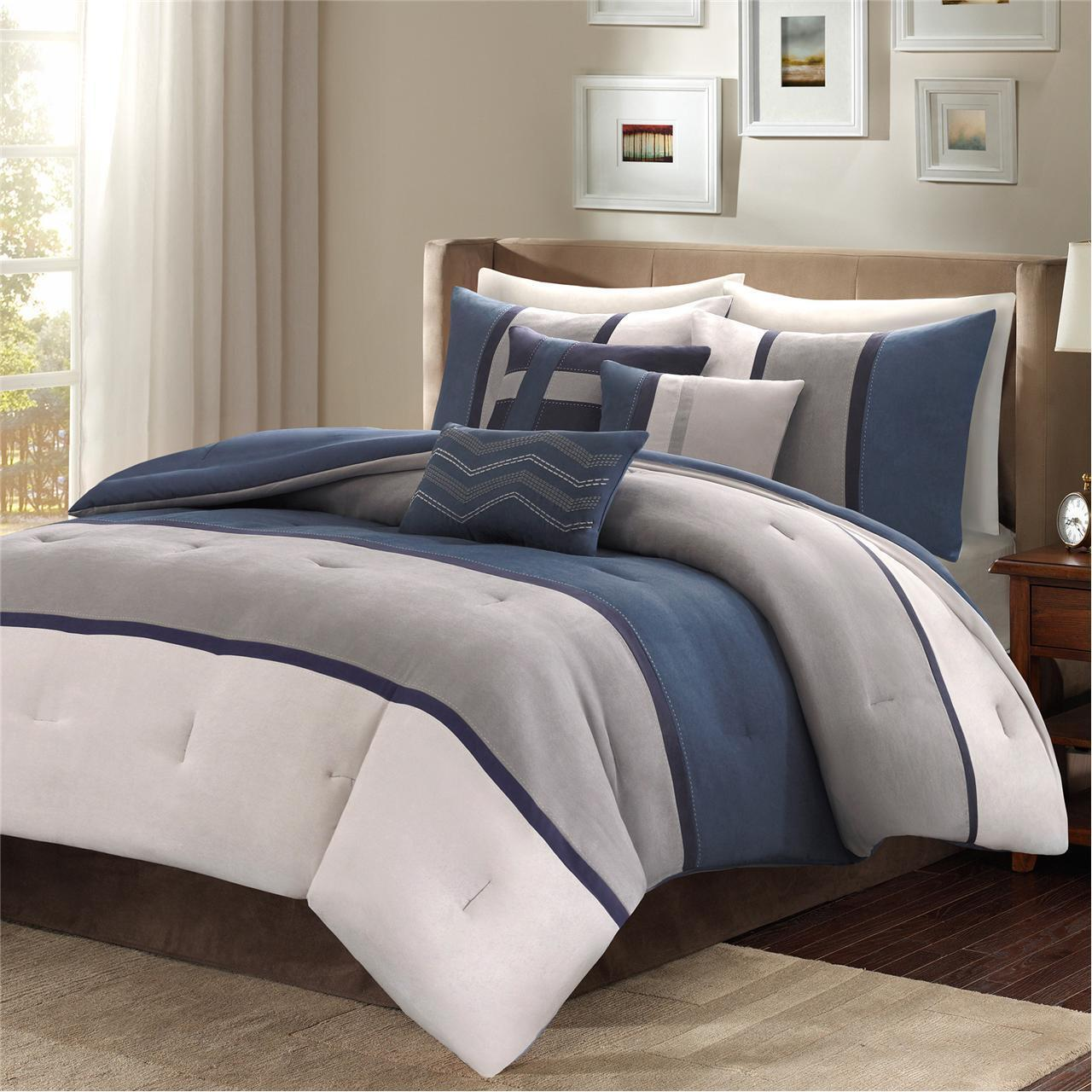 BEAUTIFUL MODERN ULTRA SOFT Blau LIGHT grau CHEVRON STITCH STRIPE COMFORTER SET