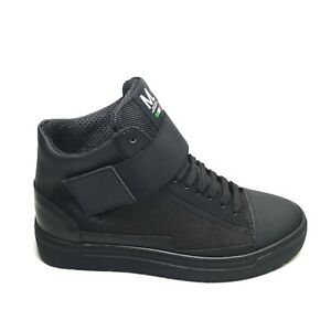 Dettagli su Sneakers ML Uomo Pelle Gommata Made in Italy Stivaletto Scarpe Con Strappo Nero