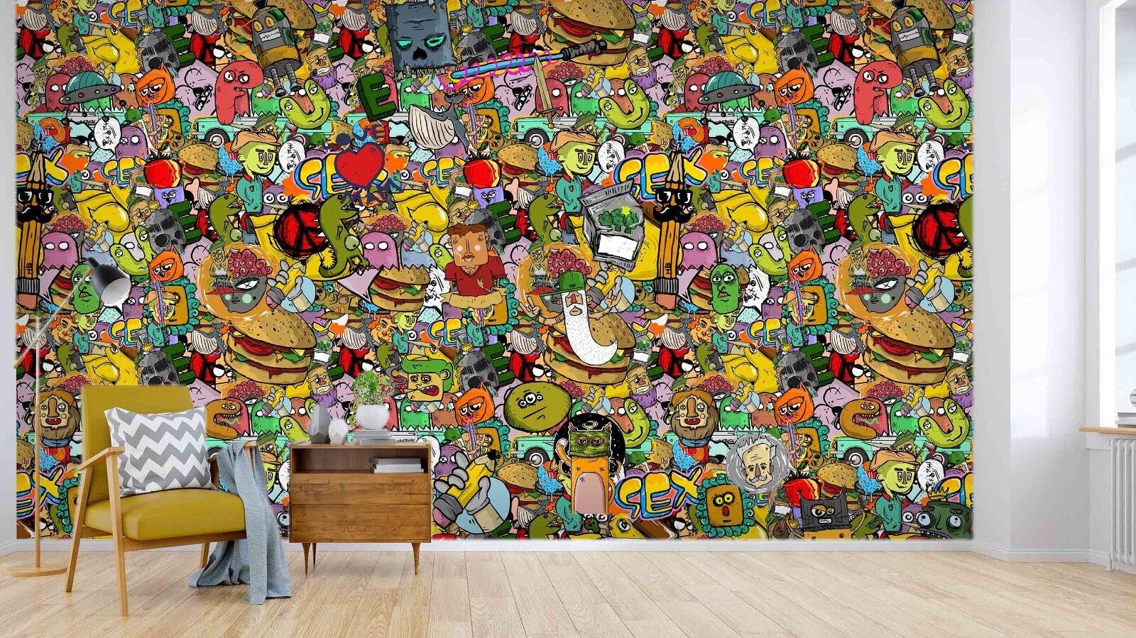 3D Garbage Graffiti Art 87 Wallpaper Mural Paper Wall Print Murals UK Lemon