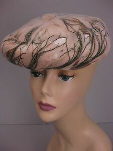 Vintage 50s pink feather hat beret
