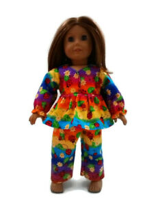 Flannel-Pajamas-18-in-Doll-Clothes-fits-American-Girl-Dolls-Colorful-Ladybugs