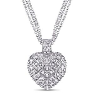 Amour-Sterling-Silver-1ct-TDW-Diamond-Heart-Triple-strand-Necklace