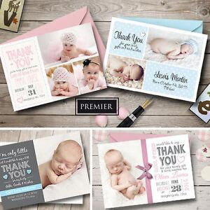 personalisiert baby foto dankesch n karten junge m dchen geburt ank ndigung ebay. Black Bedroom Furniture Sets. Home Design Ideas