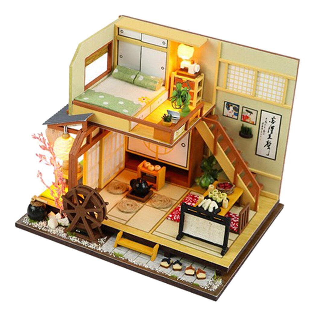 Carino Fai da Te in Legno in Miniatura Stile Giapponese Foresta Doll House kit regalo di compleanno