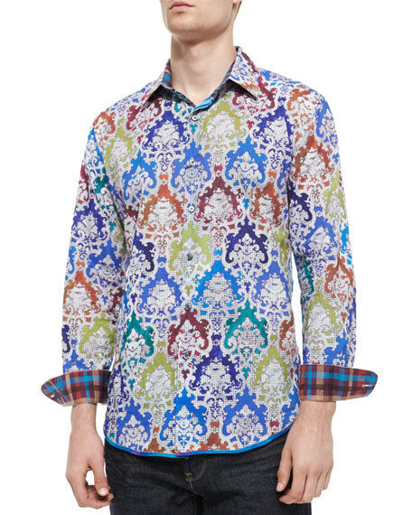 NWT Robert Graham Finn Multi color Printed Shirt - Classic Fit - Size M