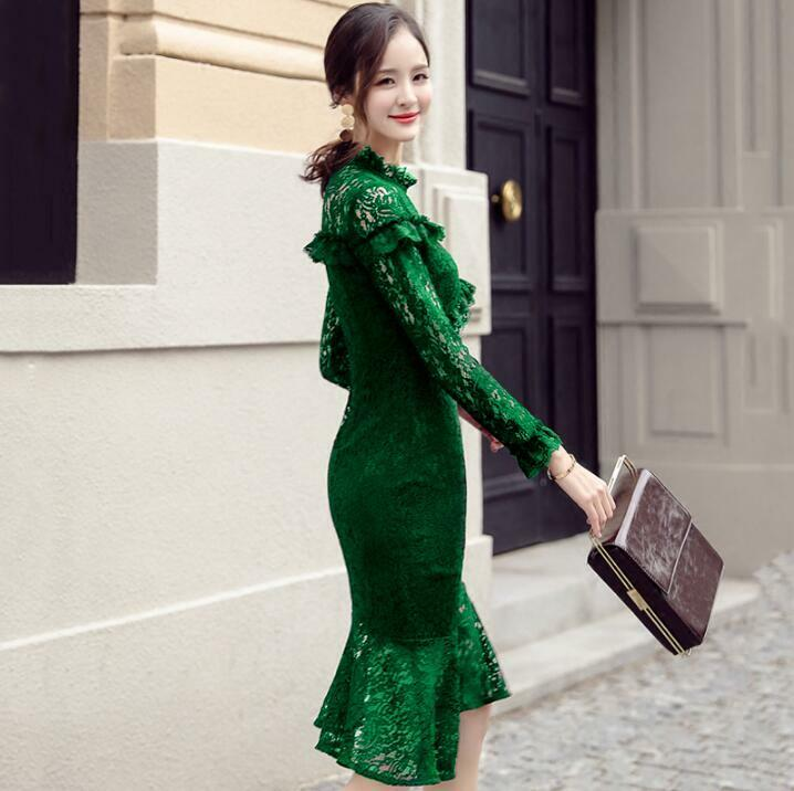 Vogue Womens Embroidery Fish Tail Dress Lace Frilly Hollow Wrap Slim Ball Gown