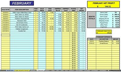 Ebay 12 Month Auction Accounting Sales Profit Expense Excel Spreadsheet Cdrom Ebay