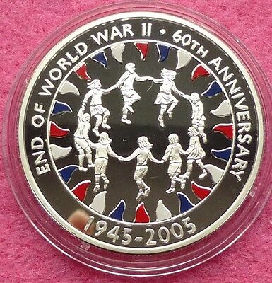 2005 ASCENSION  END OF WWII 60TH ANNIVERSARY FIFTY PENCE SILVER PROOF COIN + COA