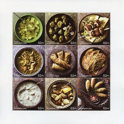 Ingenious Azerbaijan 2017 Mnh National Cuisine 9v M/s I Foods Gastronomy Stamps Asia