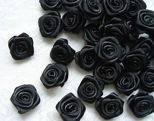 """50 pcs 3//4/"""" en Polyester Noir Ruban Satin Roses Fleur À faire soi-même Appliques R0017B"""