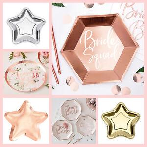 Hen Party Tableware 6 Rose Gold Bride Squad Plates Bridal Shower Bachelorette Party Rose Gold Hen Party Plates Paper Party Plates