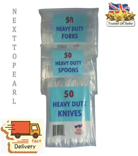 Knives Forks Disposable Cutlery Party,NEW 150 Heavy Duty Clear Plastic Spoons