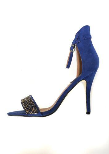 AX Paris Barely There Heels Gem Encrusted Cobalt Heeled Sandals