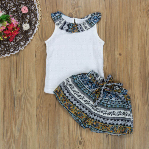 Fashion Toddler Kid Baby Girl Summer Outfit Clothes T-shirt Top+Shorts Pants Set