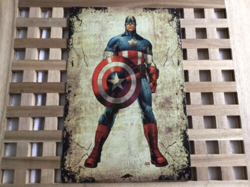 VINTAGE RETRO STYLE METAL TIN SIGN POSTER CAPTAIN AMERICA 3 RARE CAVE WALL HOME