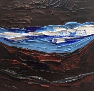 "MOUNTAIN WATER CANYON Original Acrylic Landscape Painting 6""x6"" Julia Garcia NEW"