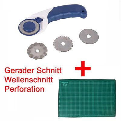100% Wahr 3-in-1-rollschneider Cutter Perforierer Cuttermesser +klingen + Schneidunterlage Das Ganze System StäRken Und StäRken