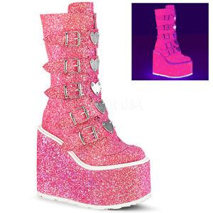 Demonia SWING-230G Women's Pink Glitter Platform w/ 5 Buckle Strap Mid-Calf Boot