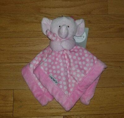 New NWT Carter Pink Polka Dot Elephant Security Blanket Blankie Lovey