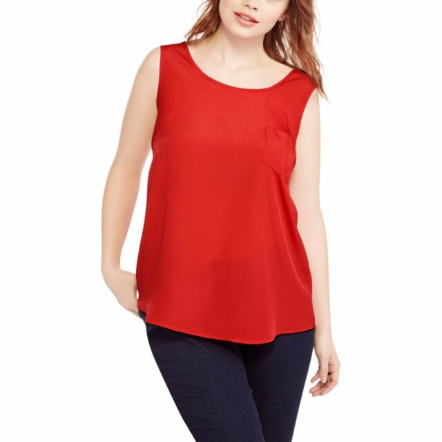 b6efeafad68 Faded Glory Women s Plus Woven Tank Top Blouse Red Size X-large 18 ...