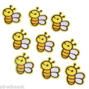 25-Gelb-Stickerei-Applikation-Biene-Aufbugler-Aufnaher-Patchwork-3-7x3-2cm
