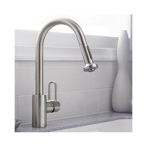 hansgrohe metro e high arc kitchen faucet steel optik finish 1 handle centerset ebay