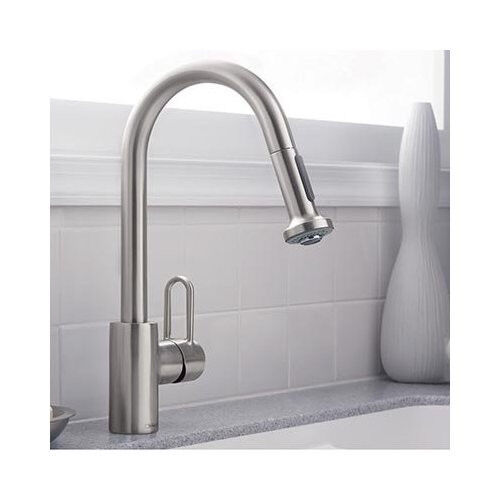 hansgrohe metro kitchen faucet hansgrohe metro e high arc kitchen faucet steel optik finish 1 handle centerset ebay 3601
