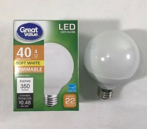 Details About Great Value 40w Soft White G25 Globe Led Energy Star Light Bulb 4 Pack Dimmable