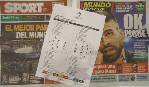 2 x Newspaper Lineups UCL 201617 FC Barcelona Manchester City