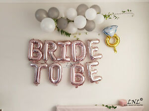 Bride To Be Rose gold balloons silver letters bride banner ...