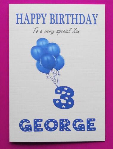 Personalised 3rd Birthday Card Baby Boy Balloons Third Birthday