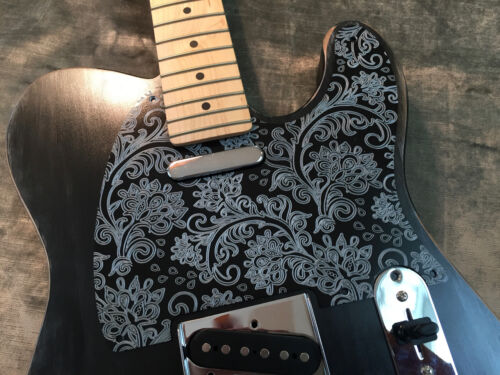 Silver Floral Paisley Bakelite Pickguard fits Fender® Telecaster® style 5 hole