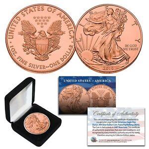 2019-Genuine-1-oz-999-Fine-Silver-American-Eagle-Coin-24KT-ROSE-GOLD-Clad-w-BOX