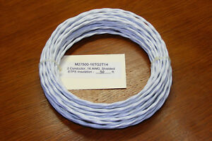 50-ft-M27500-16TG2T14-2-Conductor-16-AWG-Shielded-Aircraft-Electrical-Cable