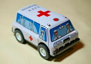 VINTAGE-Tin-Toy-New-Sanko-Metal-Friction-3-034-Ambulance-Truck-Car-Made-in-Japan