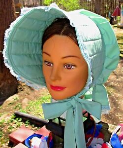 CIVIL WAR DRESS VICTORIAN ACCESSORIES LADY/'S PALE GREEN COTTON SLAT~SUN BONNET