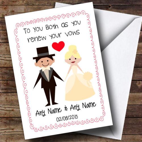 Cute DOODLE cadre /& coeur blonde mariée personnalisé de renouvellement de voeux carte