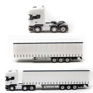 Cararama-Scania-1-50-Cab-Trailer-Diecast-Topline-Tractor-Unit-White-Oxford-CR026