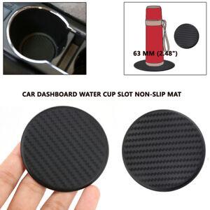"""63mm 2.48/"""" 2Pcs Black Auto Car Water Cup Slot Non-Slip Mat Carbon Fiber Interior"""