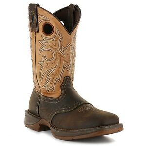 Durango Rebel Men/'s Saddle Up Pull On Brown//Tan Leather Western Boot DB4442