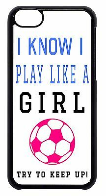 Cute Soccer Girl Pink Futbol Quote Black//White Back Case Cover Apple iPod 4 5 6